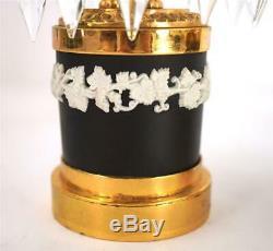 Bc Pair Vintage Black Basalt Jasperware Table Lustre Candlesticks Wedgwood
