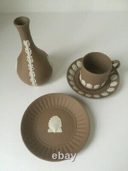 Beautiful Wedgwood Set of White on Taupe Brown Jasperware Rare Cup and Saucer