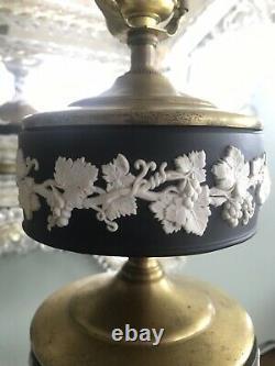 Black Vintage Wedgwood Jasperware Table Lamp With Grapevine Design