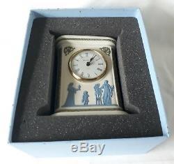 Boxed Wedgwood Clock tri-colour green blue white Jasperware Clock