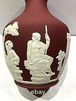 C'03 Wedgwood Jasperware Wine Colour Vase Peleus & Thetis No Handle. Rare