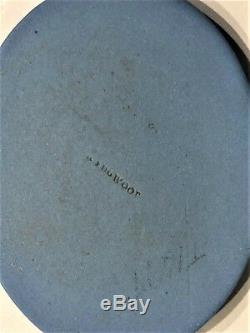 C. 1840 Wedgwood Blue Jasperware Plaque Medallion Cupid Sleeping & Aurora