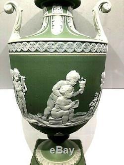 C. 1840 Wedgwood Jasperware Urn Bacchananlian Boys At Play 7.75 Rare Mint
