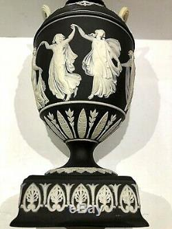 C. 1850's Wedgwood Jasperware BLACK DANCING HOURS URN WithLID STUNNING COLOURS