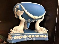 C. 1860 Rare Wedgwood Jasperware Inkwell Dolphin Feet Silverplate by G Betjemann