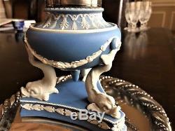 C. 1860 Rare Wedgwood Jasperware Inkwell Dolphin MOUNT Silverplate byG Betjemann