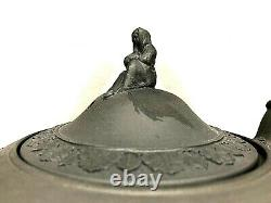 C. 1860 WEDGWOOD BLACK BASALT JASPERWARE TEAPOT WithFINIAL -RARE- SACRIFICE MNT