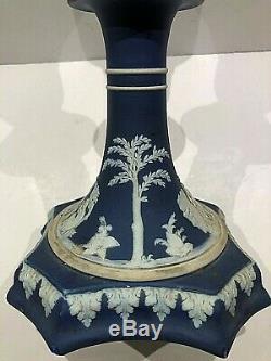 C. 1860 Wedgwood Cobalt Jasperware Octagan Footed 7 Candlestick Stunning
