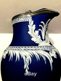 C. 1860 Wedgwood Jasperware Cobalt Blue Jug/Pitcher STUNNING RARE & MINT