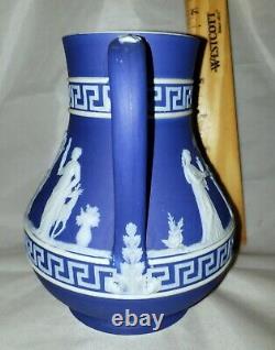 C. 1860s Antique Wedgwood Blue White Jasperware Rare Greek Key Pattern Pitcher