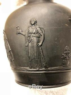 C. 1866 Wedgwood Black Basalt Jasperware Trophy Vase 6 Rare & Mint