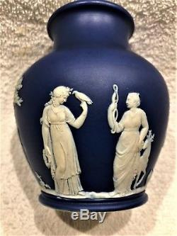 C. 1867 Wedgwood Cobalt Blue Jasperware 5 Mold #1005 Trophy Vase CODE FHX RARE