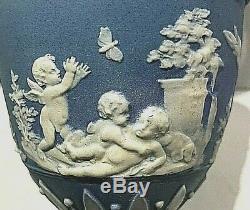 C. 1867 Wedgwood Jasperware Blue Vase/urn 627 Cherubs Playing Rare 6.5 Code V