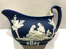 C. 1867 Wedgwood Jasperware Cobalt Blue Sauce Boat/creamer 6.25 Mint & Rare
