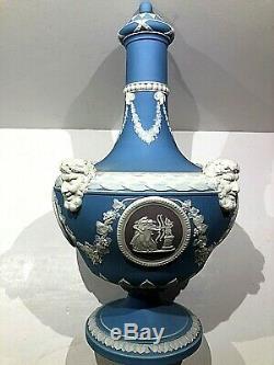 C. 1871 Wedgwood JASPERWARE TRI-COLOR Blue Barbers Bottle 10.5 CLEAN DETAILS