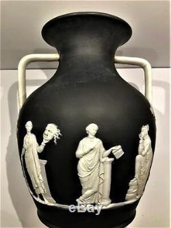 C. 1877 Wedgwood Black Dip Jasperware 10-1/2 Portland Shape Vase Code Csf