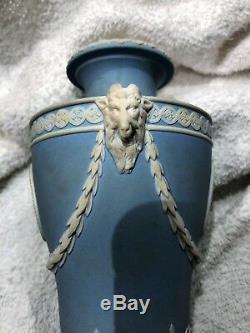 C. 1878 Wedgwood Jasperware Blue URN WithRAM'S HEAD SPORTIVE LOVE HOPE & ANCHOR