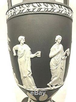 C. 1880 Wedgwood Black Dip Jasperware 10 Trophy Vase Mint Stunning Muses