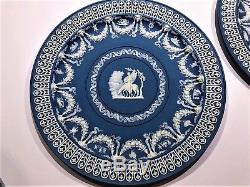 C. 1880's Set of (3) Wedgwood Blue JasperWare Muses Trophy Plates Unique