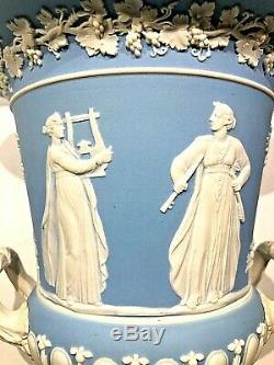 C. 1885 Wedgwood Pale Blue Jasperware Campana Urn 9.5 Code N Very Nice
