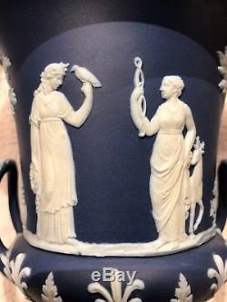 C. 1891 Large Wedgwood Portland Blue Jasperware Campana Urn Mint Condition