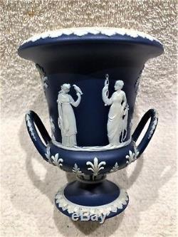 C. 1891 Large Wedgwood Portland Blue Jasperware Campana Urn Nice Satin Fin
