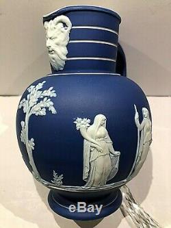 C. 1891 Rare Wedgwood Cobalt Blue Jasperware Doric Pitcher/jug 7 Details