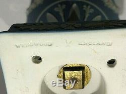 C. 1891 WEDGWOOD JASPERWARE BLUE LIDDED VASE/URN #1200 RAMS HEAD WithSWAGES MNT
