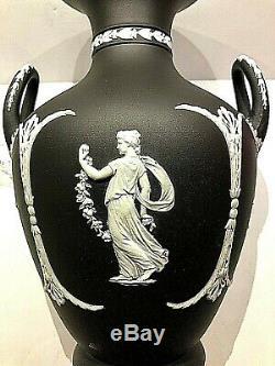 C. 1891 Wedgwood Black Dip Jasperware 10.5 Trophy Shape Vase Mint Stunning