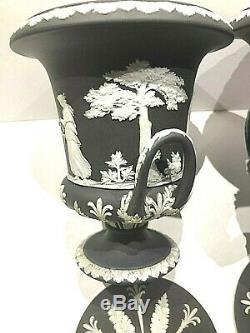 C. 1891 Wedgwood Black Jasperware Campana Lidded Urn Pair(2) Mint Pedigree