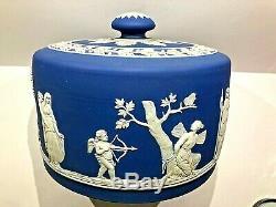 C. 1891 Wedgwood Jasperware Cobalt Blue Cheese Dish LID Extremely Nice Sharp