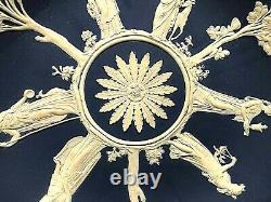 C. 1891 Wedgwood Jasperware Cobalt Blue Large Plate-stunning Motifs Rare Piece