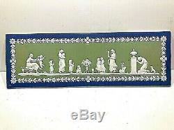 C. 1891 Wedgwood Jasperware Tri-colour Plaque 17x5.5 Mint-stunning- Rare