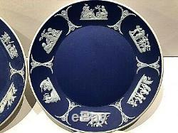 C. 1910 Pair(2) Wedgwood Blue Jasperware Cup & Saucer Muses Mint & Rare