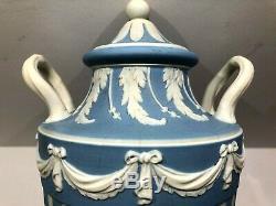 C. 1910 Wedgwood Jasperware Blue Engine Turned Lidded Vase 10 Rare Nice