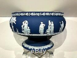 C. 1910 Wedgwood Jasperware Cobalt Blue Imperial Round Footed Bowl 9X6 MINT