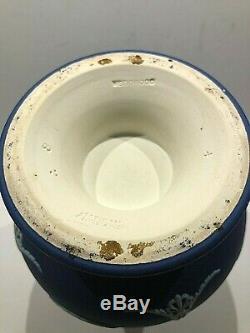 C. 1910 Wedgwood Jasperware Cobalt Blue Vase #1010 8.25 Cupid Playing Oracle