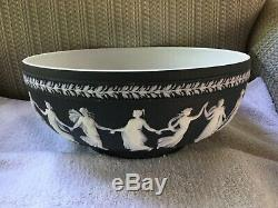 C. 1957 WEDGWOOD BLACK Jasperware DANCING HOURS 10 Large Bowl MINT