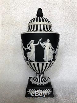C. 1961 Vintage Wedgwood Jasperware Engine Turn Lidded Urn Dancing Hours