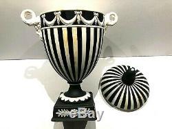 C. 1963 Wedgwood Jasperware Black/white Engine Turned Lidded Vase 26 8.5