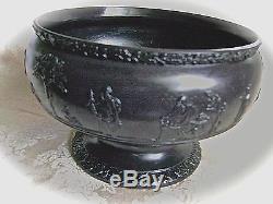 Circa 1865 Wedgwood Black Basalt Jasperware 7 Imperial Pedestal Bowl