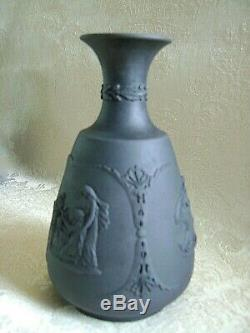 Circa 1900 Antique Wedgwood Black Basalt Jasperware Bud Vase