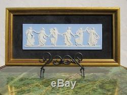 Classic Vintage Wedgwood Blue Jasper Ware Dancing Hours Framed Plaque