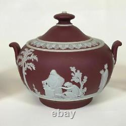 Crimson Wedgwood Jasperware Covered Sugar and Creamer Set