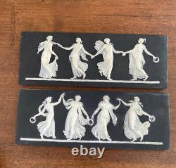 Early Wedgwood Black Jasperware Dancing Hours Framed Plaque Wedgwood Only Pair