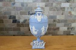 Elegant Antique Wedgwood Light Blue Jasperware Dancing Hours 10 Urn (c. 1879)