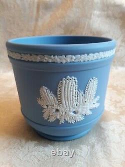 Elegant Wedgwood Blue Jasperware Australian Flowers Jardiniere Cache Pot