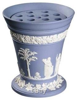 England Wedgwood Pale Blue Jasper Ware Arcadia 7 Flower Vase with Frog Insert