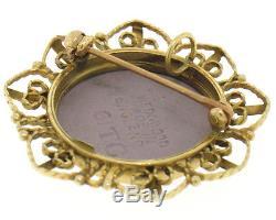 English Wedgwood 14k Yellow Gold Filigree Frame Lilac Jasperware Brooch Pendant