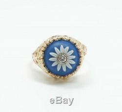 Estate Found English Wedgwood Blue Jasperware 14K Gold Filigree Diamond Ring
